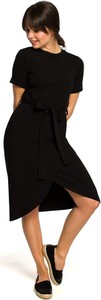 Czarna sukienka Merg midi w stylu casual z okrągłym dekoltem