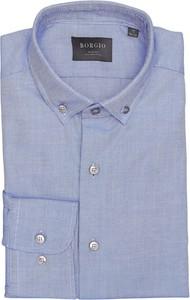 Niebieska koszula Borgio z klasycznym kołnierzykiem z bawełny