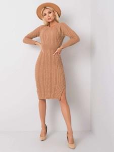 Sukienka Sheandher.pl z wełny w stylu casual z długim rękawem