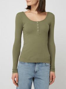 Zielona bluzka Pieces z okrągłym dekoltem z bawełny z długim rękawem