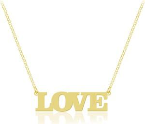 Lian Art Damski naszyjnik napis - słowo Love - 24k złocenie