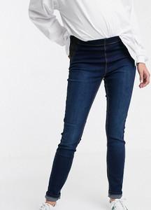Mama Licious Mamalicious Maternity – Ciemnoniebieskie obcisłe jeansy dla kobiet po porodzie