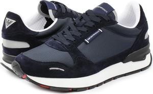 Buty sportowe Emporio Armani sznurowane z zamszu