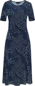 Granatowa sukienka bonprix bpc selection rozkloszowana na plażę z krótkim rękawem