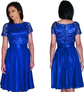 Sukienka Camill Fashion z tkaniny z krótkim rękawem gorsetowa