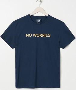 T-shirt Sinsay z krótkim rękawem z nadrukiem z bawełny