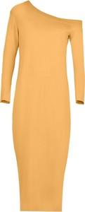 Żółta sukienka By Insomnia z bawełny w stylu casual ołówkowa