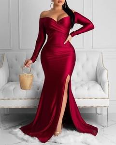 Sukienka Kendallme z długim rękawem maxi dopasowana