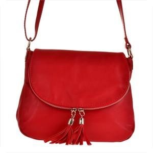 Real leather lekka czerwona listonoszka ze skóry naturalnej.
