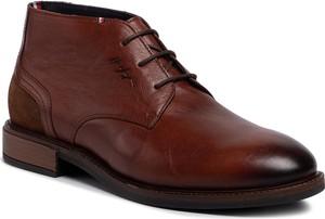 Brązowe buty zimowe Tommy Hilfiger sznurowane