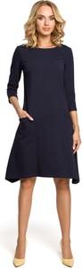 Sukienka MOE z dzianiny z długim rękawem z okrągłym dekoltem