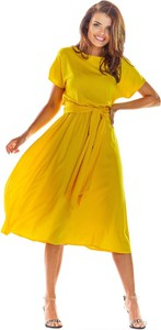 Żółta sukienka Awama rozkloszowana