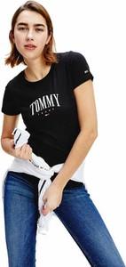 Czarny t-shirt Tommy Jeans z okrągłym dekoltem w młodzieżowym stylu
