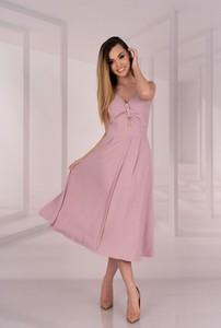 Sukienka MERRIBEL na ramiączkach trapezowa midi