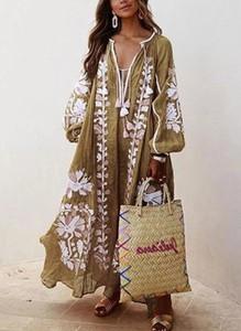 Sukienka Sandbella w stylu boho z lnu