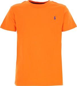 Pomarańczowa koszulka dziecięca Ralph Lauren z bawełny