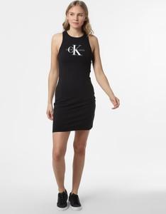 Czarna sukienka Calvin Klein mini w stylu casual dopasowana