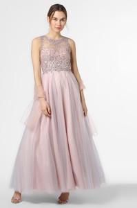 Różowa sukienka Unique maxi z tiulu rozkloszowana