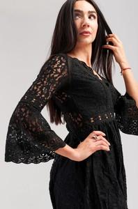 Czarna sukienka Butik Ecru rozkloszowana