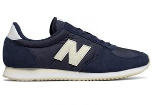 Granatowe buty New Balance z zamszu sznurowane z płaską podeszwą