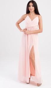 Różowa sukienka Butik Ecru maxi z szyfonu