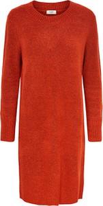 Pomarańczowa sukienka Only z okrągłym dekoltem z długim rękawem w stylu casual