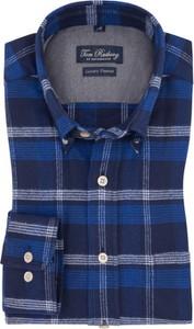 Granatowa koszula Tom Rusborg z bawełny w stylu casual z kołnierzykiem button down
