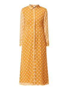 Żółta sukienka Vila z szyfonu z długim rękawem w stylu casual