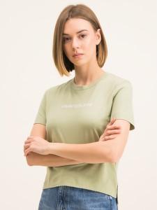 Zielony t-shirt Calvin Klein z okrągłym dekoltem w młodzieżowym stylu