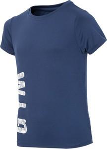 Niebieska koszulka dziecięca 4F z krótkim rękawem z dzianiny