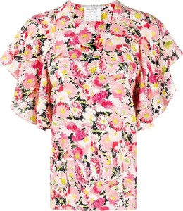 Różowa bluzka Stella McCartney z okrągłym dekoltem z krótkim rękawem
