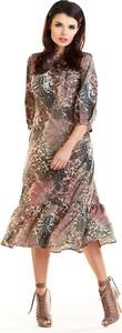 Sukienka Awama trapezowa midi z długim rękawem