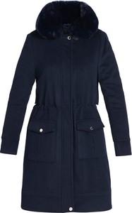Granatowy płaszcz Tiffi z kaszmiru w stylu casual