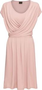 Różowa sukienka bonprix RAINBOW bez rękawów kopertowa z dżerseju