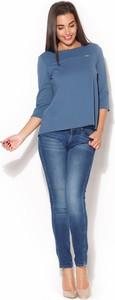 Niebieska bluzka Katrus z długim rękawem w stylu casual