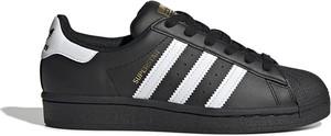 Czarne buty sportowe dziecięce Adidas ze skóry na rzepy w paseczki