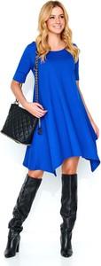Niebieska sukienka Makadamia z krótkim rękawem z dzianiny w stylu casual