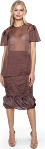 Brązowa bluzka ANETA KRĘGLICKA X L'AF z tkaniny