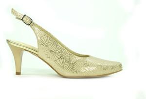 Złote sandały Verdi ze skóry na obcasie