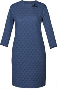 Niebieska sukienka Fokus dla puszystych z długim rękawem w rockowym stylu