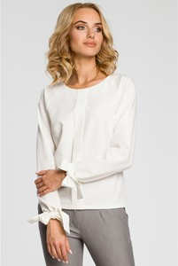 Bluzka MOE z długim rękawem z okrągłym dekoltem z tkaniny