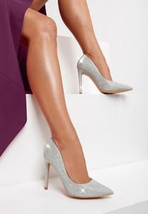 Srebrne szpilki Renee w stylu klasycznym ze spiczastym noskiem