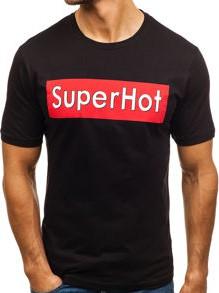 Czarny t-shirt Denley z bawełny z krótkim rękawem