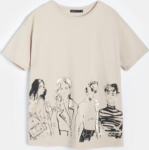 T-shirt Mohito z krótkim rękawem z bawełny z okrągłym dekoltem