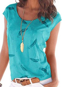 Niebieska bluzka Sandbella z krótkim rękawem