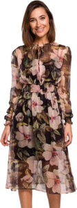Sukienka Style z tkaniny z długim rękawem z okrągłym dekoltem