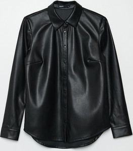 Czarna koszula Cropp ze skóry z długim rękawem