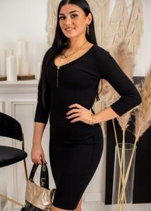 Czarna sukienka Fason z długim rękawem z bawełny z dekoltem w kształcie litery v