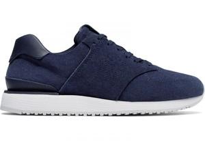 Granatowe buty New Balance z płaską podeszwą z zamszu