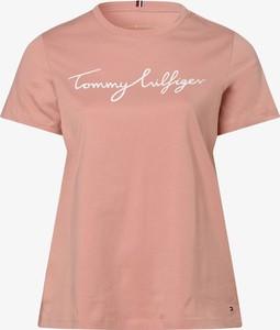 Różowy t-shirt Tommy Hilfiger z okrągłym dekoltem